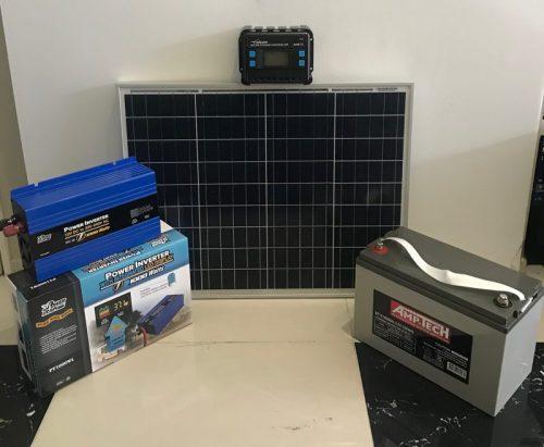 SOLAR PANEL BUNDLE – 55w Solar Panel, 20w Controller,120AH Battery,1000w inverter