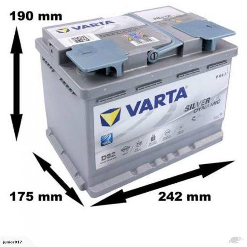 VARTA D52 AGM BATTERY LN2 VARTA DIN55L SILVER DYNAMIC AGM BATTERY 680CCA