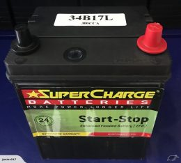 STOP START CAR BATTERY 300 CCA SUPERCHARGE 34B17L 2 YEARS WARRANTY