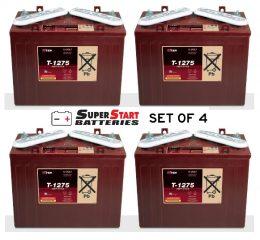 SET OF 4 Golf Cart Battery 12 Volt 150 AH TROJAN T-1275 FREE SHIPPING TO MAINFREIGHT DEPOT T1275