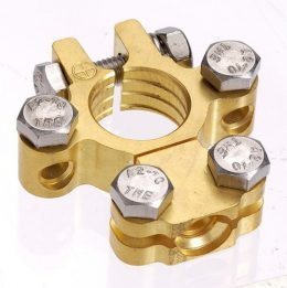 Projecta Brass Saddle Battery Terminal with Dual Auxiliary (Neg) BT620-N1
