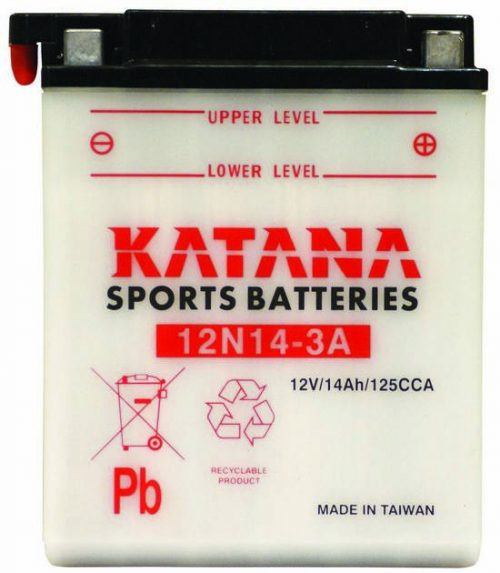 12N14-3A Katana Conventional Motorcycle Battery 12V 125CCA 14AH 6 MONTHS WARRANTY
