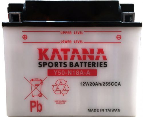 Y50-N18L-A Katana Conventional Motorcycle Battery 12V 20AH 6 MONTHS WARRANTY