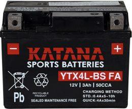 YTX4L-BS Katana Premium Maintenance Free VRLA Range Motorcycle Battery 12V 3AH 6 MONTHS WARRANTY