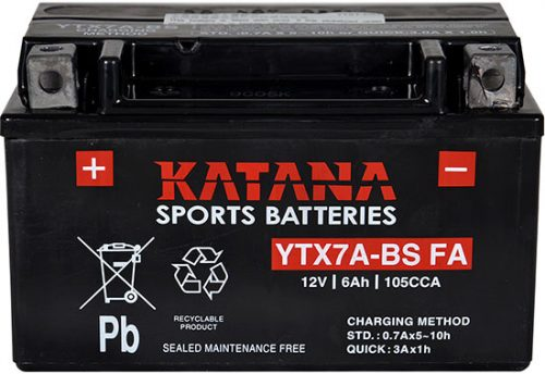YTX7A-BS FA Katana Premium Maintenance Free VRLA Range Motorcycle Battery 12V 6AH 6 MONTHS WARRANTY