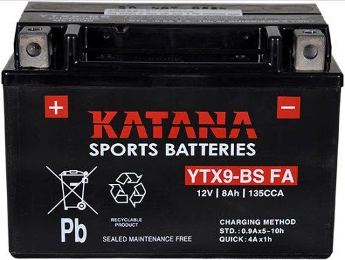 YTX9-BS FA Katana Premium Maintenance Free VRLA Range Motorcycle Battery 12V 8AH 6 MONTHS WARRANTY