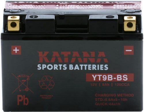 YT9B-BS Katana Premium Maintenance Free VRLA Range Motorcycle Battery 12V 8AH 6 MONTHS WARRANTY