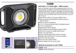 Narva 71406 Rechargeable L.E.D Audio Light 5000 Lumens