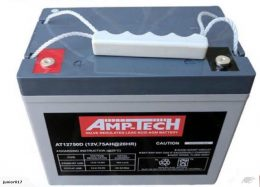 75 AH DEEP CYCLE BATTERY SUITS GOLF CARTS AMPTECH AT12750D
