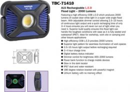 Narva 71410 LED ALS Rechargeable L.E.D Flood Light – 2000 Lumens