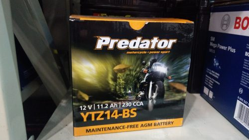 MOTORBIKE BATTERY PREDATOR YTZ14-BS 12V 11.2AH 230cca YTZ12S YTZ12S, YTZ14S, MBTZ10S, TTZ12S, TTZ12S-BS FREE SHIPPING NATIONWIDE