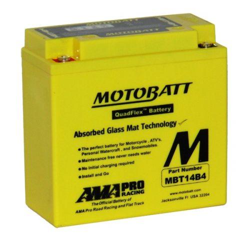MOTOBATT QUADFLEX MBT14B4 12V 175CCA MOTORBIKE BATTERY YT14B-BS, YT14B4 FREE SHIPPING NATIONWIDE