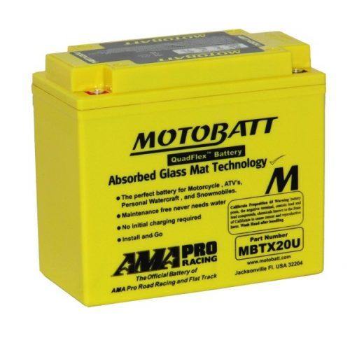 MOTOBATT QUADFLEX MBTX20U 12V 310CCA MOTORBIKE BATTERY YTX20H-BS YB16B FREE SHIPPING NATIONWIDE