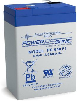 POWERSONIC PS-640 6v 4.5ah AGM VRLA Sealed