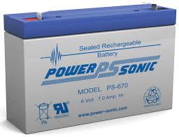 POWERSONIC PS-670 6v 7ah AGM VRLA Sealed