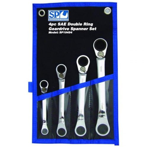 SP10454 SP Tools 4pc SAE 15º Offset Double Ring Geardrive Wrench/Spanner Set