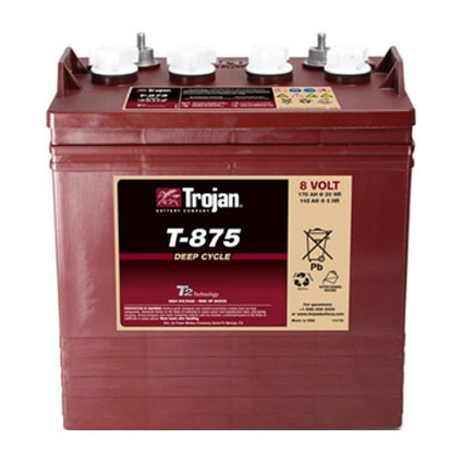 Trojan Battery 8v 170ahr Flooded Deep Cycle Lead Acid TROJAN T-875 FREE SHIPPING EXCEPT RURAL ADDRESSES