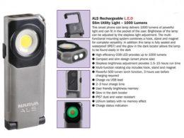Narva 71450 LED Rechargeable Utility Light Slim 1000 Lumens