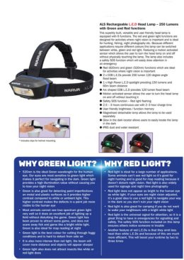 Narva 71427 ALS RECHARGEABLE L.E.D HEAD LAMP – 250 LUMENS WITH GREEN & RED FUNTIONS