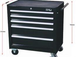 SP Tools 5 Drawer Roller Cab Tool Box Black Custom Series SP40111